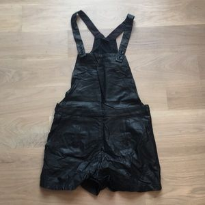 Pleather short overalls